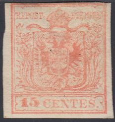 Lombardy Venetia, 1850 - 15 cents, red - Sassone #6