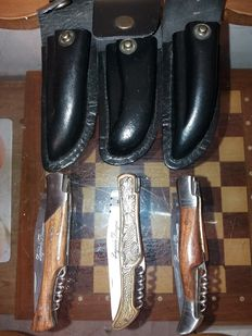 3 Laguiole la bougna knives covered and rounded
