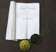 Patent Letter – Order of Saints Maurice and Lazarus – with autograph by Charles Albert of Savoy, King of Sardinia, 1838