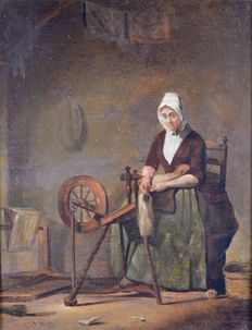 Unknown. (18th century Flemish School) - a woman with her spinning wheel.