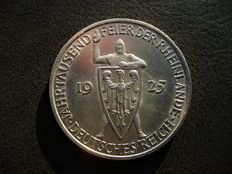 Duitse Rijk - 5 Peichsmark 1925 A 1000th Year of the Rhineland - zilver