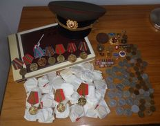 USSR\Russia - 74 Different Medals & Badges and 73 Coins and Propaganda Abum & Soviet Army Cap