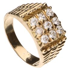 14 kt yellow gold ring, set with 9 zirconia stones – 19.5 mm