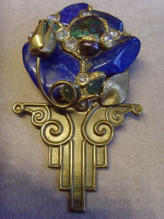 Vintage Broche  with lapis lazuli, turquoise, pearl and rhinestone