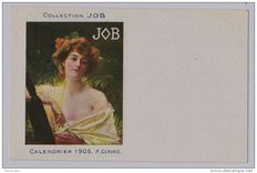Themed postcard Illustrator P.Gervais Mucha style original calendar JOB 1905