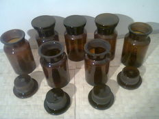 Apothecary jars 500cc, brown glass.