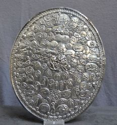 Curiosity; Oval plaque with erotic images from Greek Roman gem stones and 18th - 19th century medals - approximately 1900