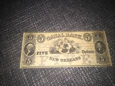 USA - Obsolete Currency - Canal Bank of New Orleans 5 dollars 18xx - remainder