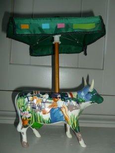 Rare figurine Vach'art - Cow Parade - It's a Cowpuccino Morning of Suzanne E. Sellers