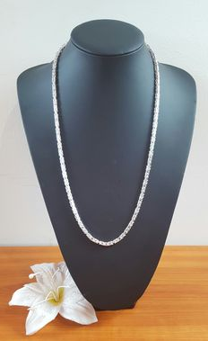 Silver king's braid link necklace 925k