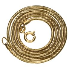Yellow gold, snake link necklace, 14 kt - 39 cm