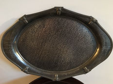 Arts & Crafts pewter hand hammered tray - Sheffield Stamped