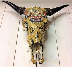 Large and hand-painted genuine water buffalo skull