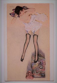 Old illustrator postcards Raphael Kirchner - art nouveau le Masque impassible 1900+-