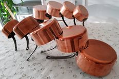 Lot consisting of ten massive tinned copper pans, circa 1960/70, France,