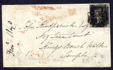 Great Britain 1840 - 1d black on cover.