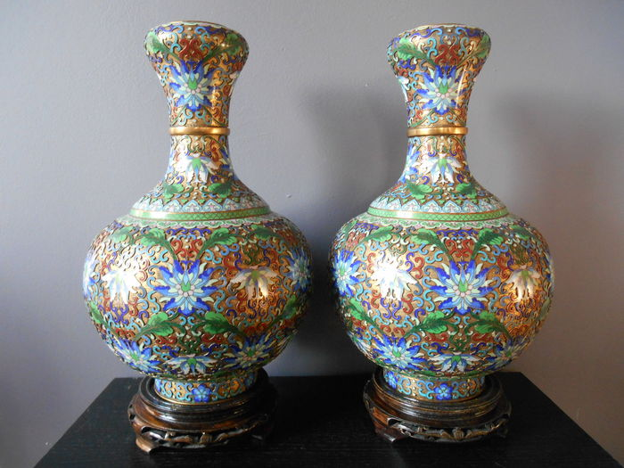 Large Finely Decorated Cloisonn Champleve Vases China Late 20th