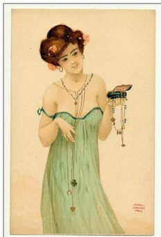 old illustrator postcards Raphael Kirchner la boite a bijoux, very rare in original often biotex replica rating 200% 1900+- as good as new