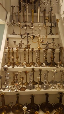 Huge Lot of 128  solid brass candles holders and silver plated candlesticks instant collection