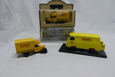 Kodak Days Gone Advertising cars, 3 pieces, 1 kodak in its original packaging, 1  without packaging, 1 Peugeot J 7 with display box. Cars are like new, nice for the display cabinet.