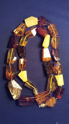 100% natural Baltic amber faceted beaded necklace, No reserve