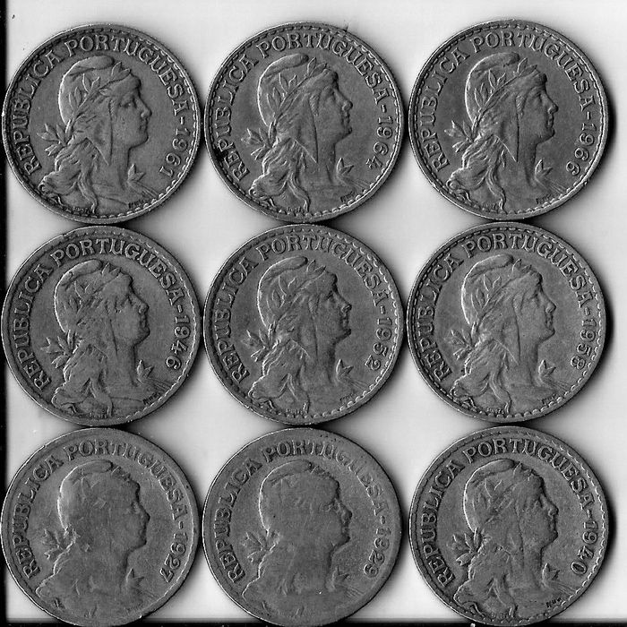 Portugal - 9 Coins of 1 Escudo - 1927 to 1966 - Lisbon
