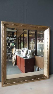 Mirror with facet - silver bronze - wide wooden frame
