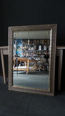Large mirror with facet - silver - Wide ornamental frame - France - 20th century