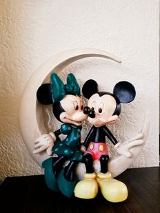 Disney - figure Mickey and Minnie Mouse in the moon - poly-resin