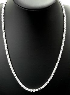 New! Silver, braided necklace, 925 kt.