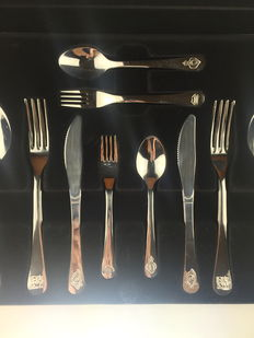 """Salvador Dalí"" six person cutlery set engraved with his artworks - 2004, Cataluña, Spain."