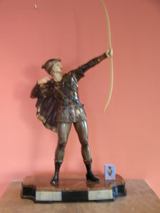 Statue of archer in artistic bronze art and ivoirine, marble pedestal, second half 20th century