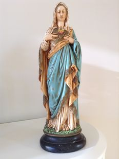 Beautifully nicely ' Maria Sacred Heart ' statue - Belgium - early 20th century