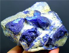 Rare Deep Blue Afghanite Specimen with Golden Pyrite - Afghanistan - 89 x 81 x 55 mm - 676 gm