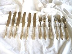 6 sets of dessert cutlery in silver-Italy-early 1900s