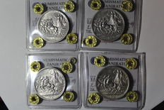 "Kingdom of Italy – Complete 2 Lira series and 1 Lira ""Quadriga Briosa"" series from 1914 to 1917 (7 coins) – Silver"