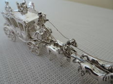 Dutch silver miniature golden carriage with six horses