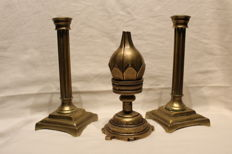 Two French candlesticks very old, with a flexible lotus candle, first half of the 20th century