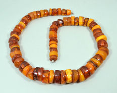 Art Deco 1930s Baltic amber necklace butterscotch, egg yolk honey color