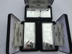3 x USA $100 bills made of pure 999 silver, 3 x 4 ounce 999 silver bars with box and certificate - 2014 + 2015 + 2016
