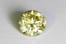 Round cut diamond, 0.50 carat, SI1, Fancy Greenish Yellow