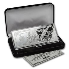 Bill $ 100 made of pure 999 silver, 4 ounce 2016 with box and certificate
