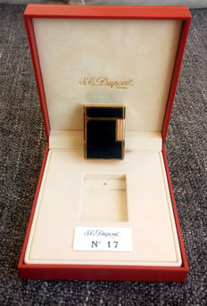 Gold Plated and China Blue Lacquer S.T. Dupont Paris Line 1 Lighter