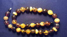 Baltic amber necklace, multi color round beads