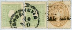 Lombardy Veneto – lot of three stamps.
