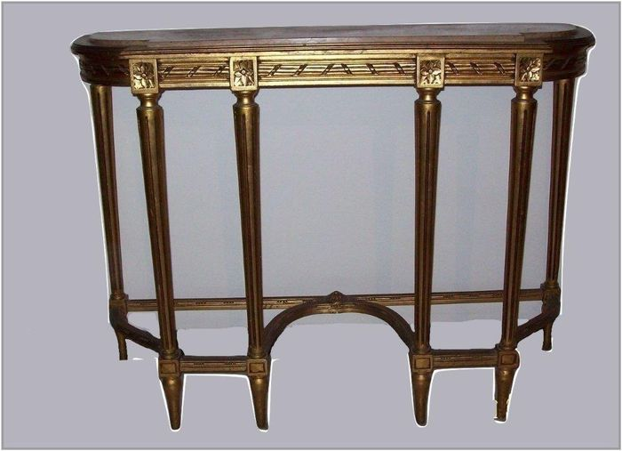Gold Leaf Console Table With Pinkish Marble Top, In Louis XVI Style   20th C