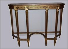 Gold leaf console table with pinkish marble top, in Louis XVI style - 20th C