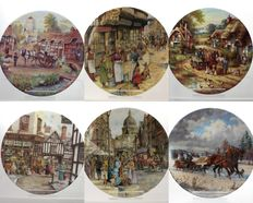 Collection of 6 Decorative Porcelain Plates - Countryside and Town Life