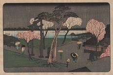 Hiroshige Utagawa (1797-1858) -  Cherry Trees in Rain on the Sumida River Embankment -  Famous Views of the Eastern Capital -  Ca. 1835-39