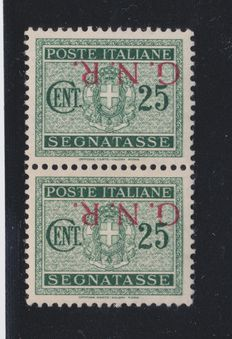 Italy, Social Italian Republic, 1944—25 Cents stamp—overprint up-side down—issued in Brescia. 50/la
